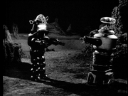 Robby and the Robinson's robot face off in 'War of the Robots'