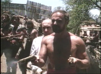 John Saxon as Dawn Abraham's instrument of death in 'Prisoners of the Lost Universe'