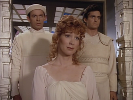 Marnie Mosiman, Randy Oglesby (L) and Leo Damian (R) in Star Trek-The Next Generation-Loud as a Whisper