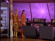 Marta Kristen and Angela Cartwright watching the destruction on Kym's planet
