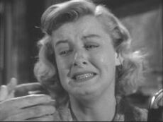 Constance Ford about to be killed in Alfred Hitchcock Presents-The Creeper