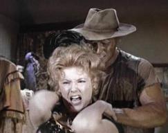 Karen Sharpe strangled in 'Bonanza-The Ape'
