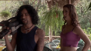 Hector Jiminez with Liv Boughn just before his death in 'Sharktopus'