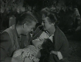 Maggie Peirce dead with Bette Davis and John Wilder in 'Wagon Train-The Elizabeth McQueeny Story'