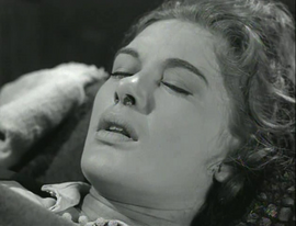 Diane Brewster at the moment of her death in 'Wagon Train-The Lita Foladaire Story'
