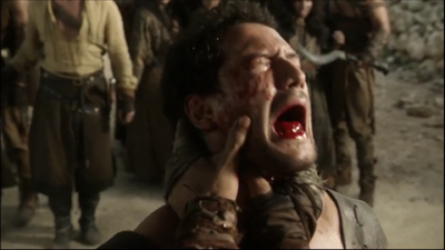 Ivailo Dimitrov's tongue being pulled out in Game of Thrones-The Pointy End