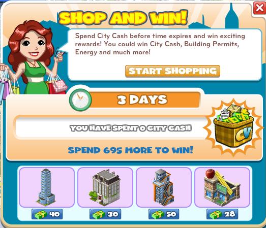 Shop And Win!-menu