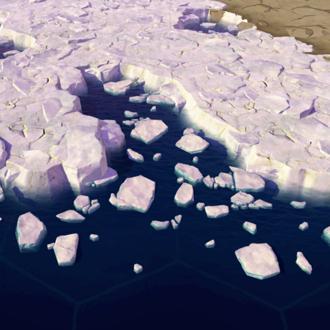 A vast wall of ice, as seen in-game