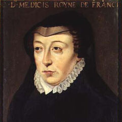 A painting of Catherine de Medici by François Clouet (which appears to have inspired her in-game model)