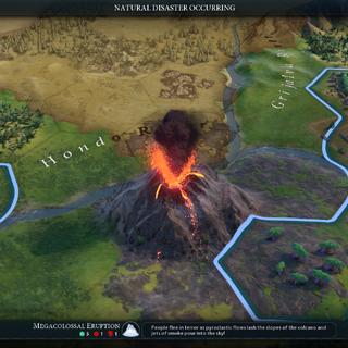 A volcano erupts!