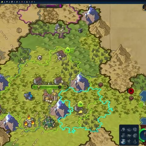 Strategic view from <i>Civilization VI</i>, showing a grid of hexes with irregular edges