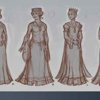 Uncolored concept art of Eleanor of Aquitaine