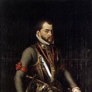 A 1566 painting of Philip II by Alonso Sánchez Coello (which appears to have inspired his in-game model)
