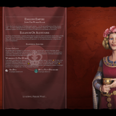 Eleanor of Aquitaine (as the leader of England) on the loading screen
