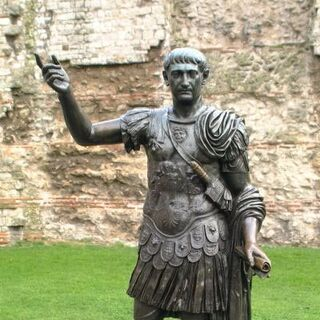 A statue of Trajan (which appears to have inspired his in-game model)