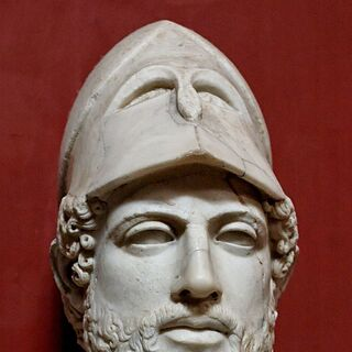 A marble bust of Pericles (which appears to have inspired his in-game model)