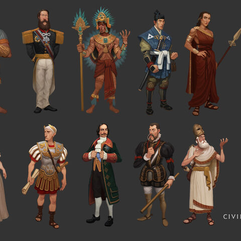 Concept art of <i>Civilization VI</i> leaders by <a href=