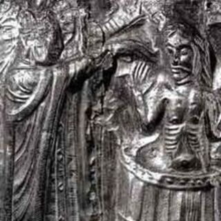 Relief of Harald Bluetooth being baptized by Poppa the cleric