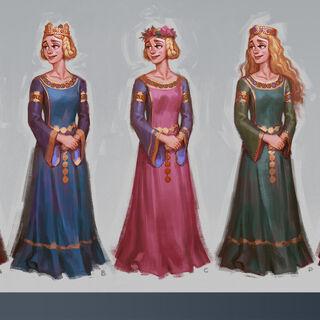 Colored concept art of Eleanor of Aquitaine