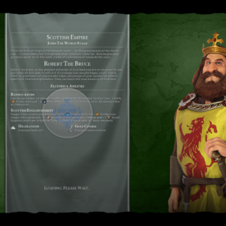 Robert the Bruce on the loading screen (in <i>Gathering Storm</i>)