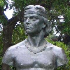 A bust of Lautaro (which appears to have inspired his in-game model)