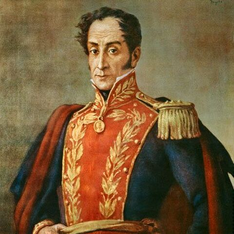 A portrait of Simón Bolívar (which appears to have inspired his in-game model)
