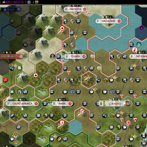 Strategic view from <i>Civilization V</i>, showing a grid of hexes