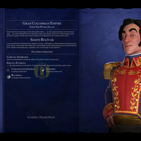 Simón Bolívar on the loading screen