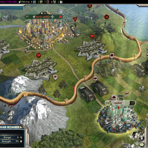 Gods & Kings demo screenshot, showing the Ethiopian capital, Addis Ababa (north), and the Ethiopian city of Harar annexed by the Huns (south).