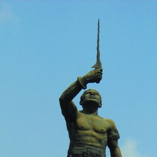 Statue of Gajah Mada at the Telecommunications Museum in Jakarta, which is the inspiration for his in-game design.