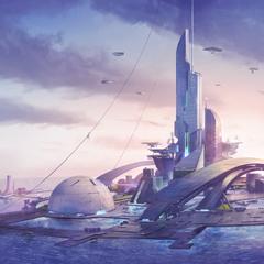 An aquatic city, as shown in a <i>Rising Tide</i> loadscreen