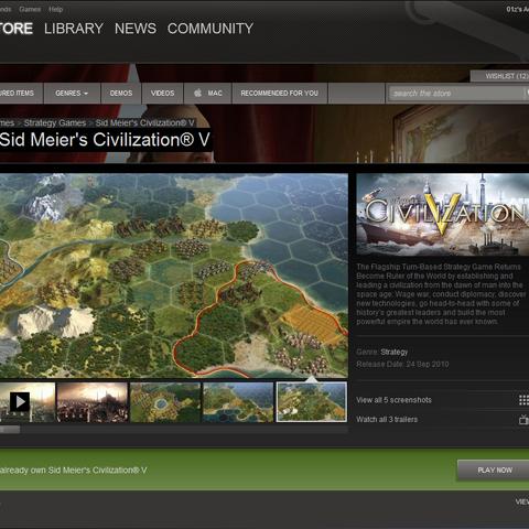 Screenshot of the Steam client, presenting <i>Civilization V</i>