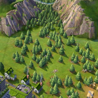 Woods on a flat Grassland tile, as seen in-game