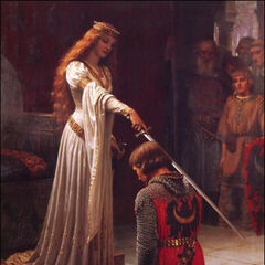 A painting of Eleanor knighting a follower (which appears to have inspired her in-game model)