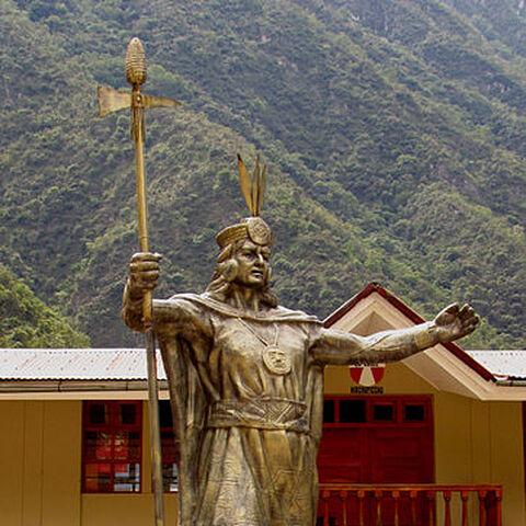 Pachacuti statue in Aguas Calientes, Peru