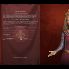 Eleanor of Aquitaine (as the leader of France) on the loading screen