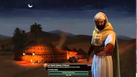 Civilization V Leader Ahmad al-Mansur of Morocco Declares War