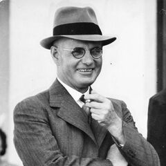 A 1941 photograph of John Curtin at a garden party for Canberra Hospital Auxiliary (which appears to have inspired his in-game model)