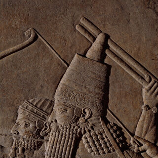 Relief of Ashurbanipal hunting lions by chariot