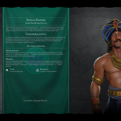 Chandragupta on the loading screen (in <i>Gathering Storm</i>)