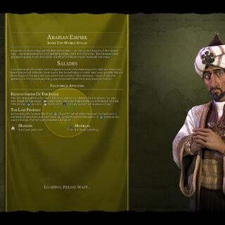 Saladin on the loading screen