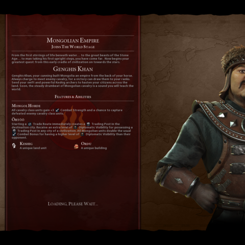 Genghis Khan on the loading screen (in <i>Gathering Storm</i>)