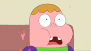 Gum on Clarence's face
