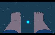 Clarence's feet and a weird blue star