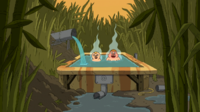 Percy and Clarence in hot tub