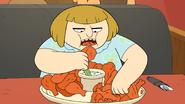 Ms. Shoop eating wings