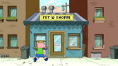 Clarence on the pet shop