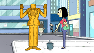 Sammy gives money to the golden man