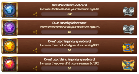 Loot card achievements