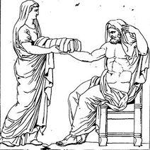 330px-Rhéa présentant une pierre emmaillotée à Cronos dessin du bas-relief d'un autel romain